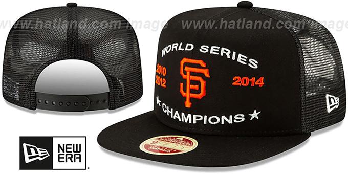 88af253bb6b San Francisco SF Giants CHAMPIONS TRUCKER SNAPBACK Black Hat