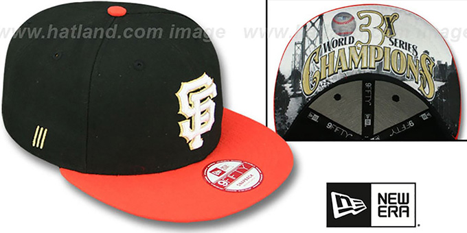 SF Giants 'CHAMPS-HASH SNAPBACK' Black-Orange Hat by New Era : pictured without stickers that these products are shipped with
