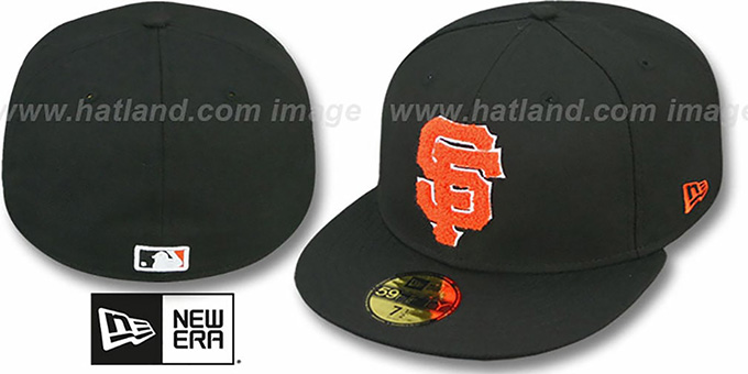 SF Giants 'CHENILLE APPLIQUE' Black Fitted Hat by New Era : pictured without stickers that these products are shipped with