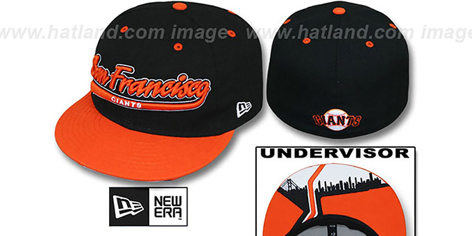 SF Giants 'CITY-SCRIPT' Black-Orange Fitted Hat by New Era : pictured without stickers that these products are shipped with