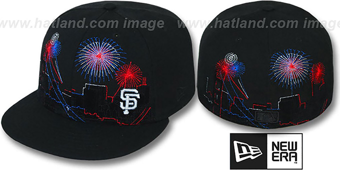 SF Giants 'CITY-SKYLINE FIREWORKS' Black Fitted Hat by New Era : pictured without stickers that these products are shipped with