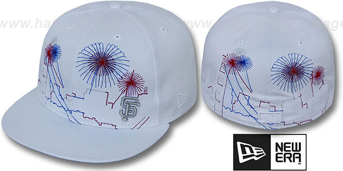 SF Giants 'CITY-SKYLINE FIREWORKS' White Fitted Hat by New Era