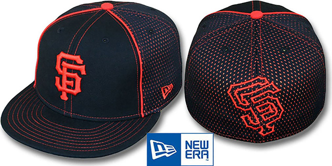 SF Giants 'CONTRAST BP-MESH' Black Fitted Hat by New Era : pictured without stickers that these products are shipped with