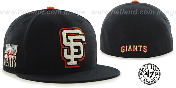SF Giants COOP 'CATERPILLAR' Black Fitted Hat by 47 Brand : pictured without stickers that these products are shipped with