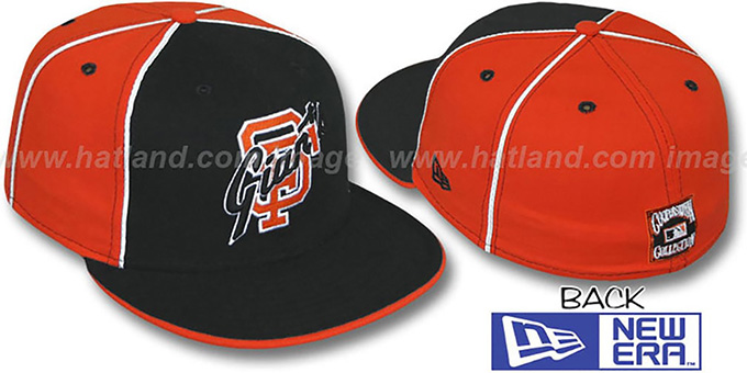 SF Giants COOP 'DECEPTOR-2 PINWHEEL' Black-Orange Fitted Hat : pictured without stickers that these products are shipped with