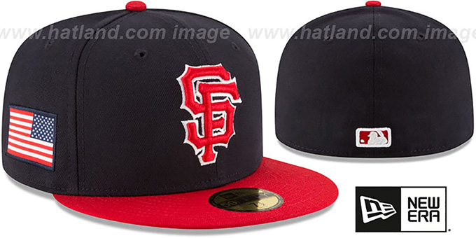 SF Giants 'COUNTRY COLORS' Navy-Red Fitted Hat by New Era : pictured without stickers that these products are shipped with