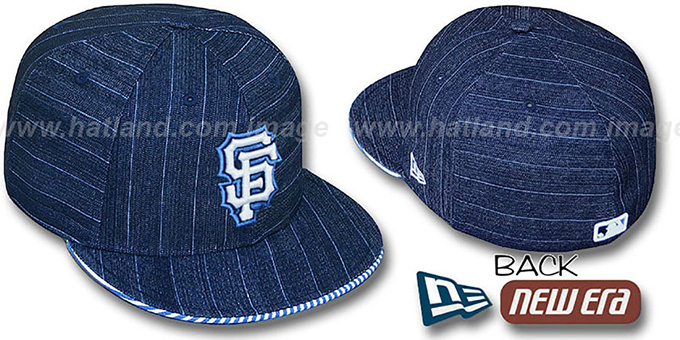 SF Giants 'DENIM BLUSTRIPE' Fitted Hat by New Era - navy : pictured without stickers that these products are shipped with