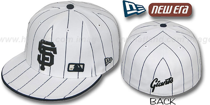 SF Giants 'FABULOUS' White-Navy Fitted Hat by New Era : pictured without stickers that these products are shipped with