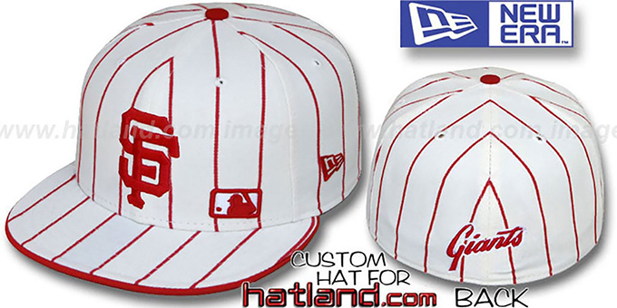 SF Giants 'FABULOUS' White-Red Fitted Hat by New Era : pictured without stickers that these products are shipped with