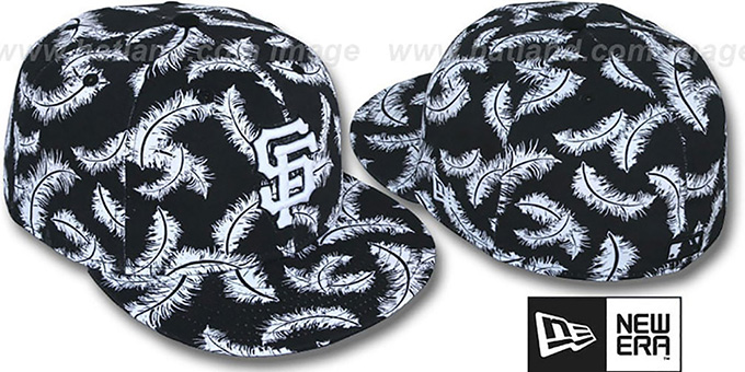SF Giants 'FEATHERS' Black-White Fitted Hat by New Era : pictured without stickers that these products are shipped with