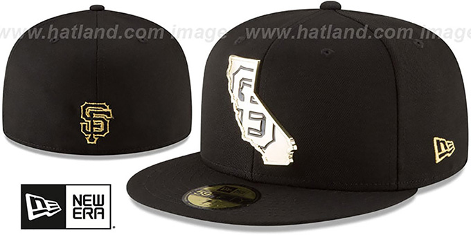 afa2ae75865b29 San Francisco SF Giants GOLD STATED METAL-BADGE Black Fitted Hat