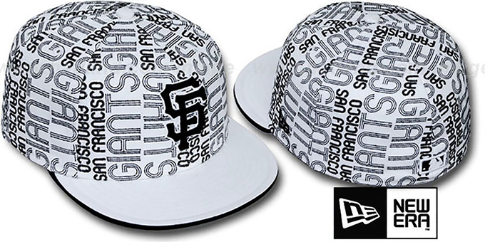 SF Giants 'GOOD TIMES ALL-OVER' White-Black Fitted Hat by New Era : pictured without stickers that these products are shipped with