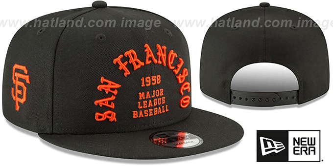 SF Giants 'GOTHIC-ARCH SNAPBACK' Black Hat by New Era : pictured without stickers that these products are shipped with