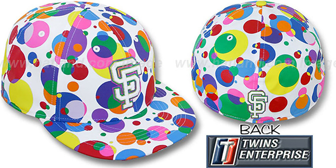 SF Giants 'GUMBALL' White-Multi Fitted Hat by Twins : pictured without stickers that these products are shipped with