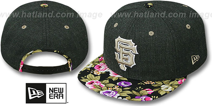 989633d3234 San Francisco SF Giants HEATHER BLOOM SNAPBACK Charcoal-Black Hat