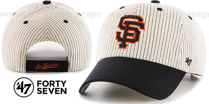 SF Giants 'HOME-RUN PINSTRIPE STRAPBACK' Hat by Twins 47 Brand : pictured without stickers that these products are shipped with