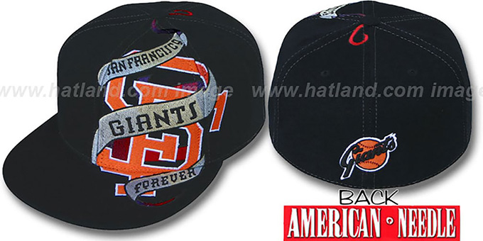 SF Giants 'INKED' Black Fitted Hat by American Needle : pictured without stickers that these products are shipped with