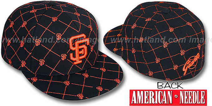 SF Giants 'KINGSTON ALL-OVER' Black-Orange Fitted Hat by American Needle : pictured without stickers that these products are shipped with