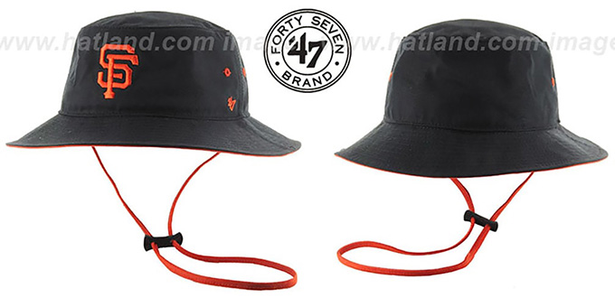 SF Giants 'KIRBY BUCKET' Black Hat by Twins 47 Brand : pictured without stickers that these products are shipped with