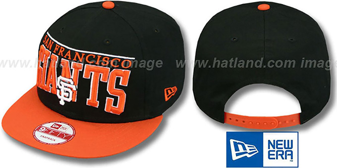 SF Giants 'LE-ARCH SNAPBACK' Black-Orange Hat by New Era : pictured without stickers that these products are shipped with