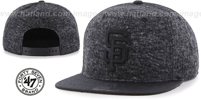 SF Giants 'LEDGEBROOK SNAPBACK' Black Hat by Twins 47 Brand : pictured without stickers that these products are shipped with