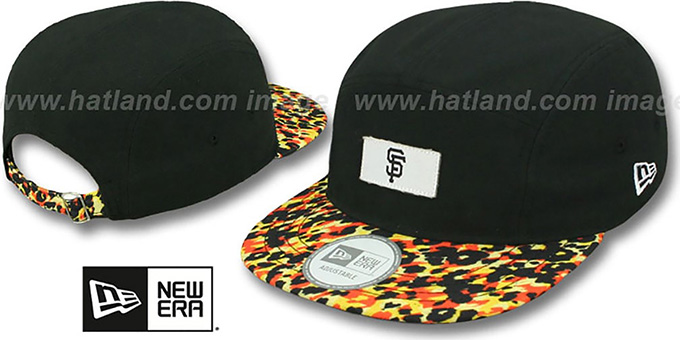 SF Giants 'LEOPARD CAMPER STRAPBACK' Black Hat by New Era : pictured without stickers that these products are shipped with