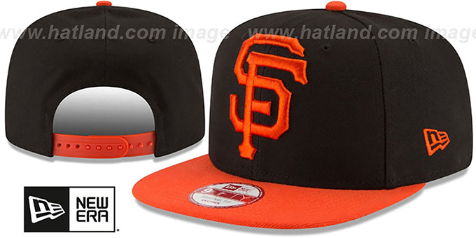 SF Giants 'LOGO GRAND REDUX SNAPBACK' Black-Orange Hat by New Era : pictured without stickers that these products are shipped with