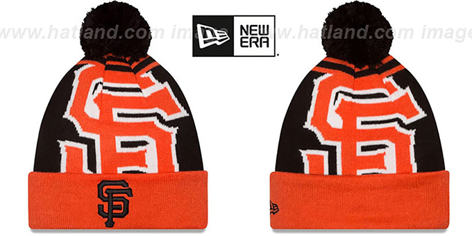 SF Giants 'LOGO WHIZ' Black-Orange Knit Beanie Hat by New Era : pictured without stickers that these products are shipped with
