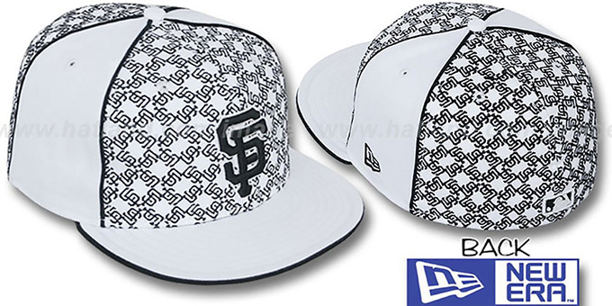 SF Giants 'LOS-LOGOS' White-Black Fitted Hat by New Era : pictured without stickers that these products are shipped with