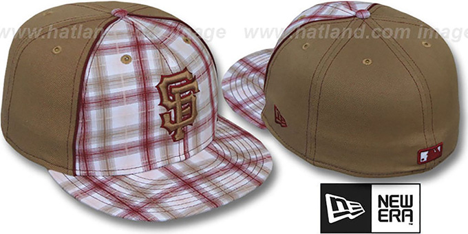 SF Giants 'MACDADDY PLAID' Wheat Fitted Hat by New Era : pictured without stickers that these products are shipped with