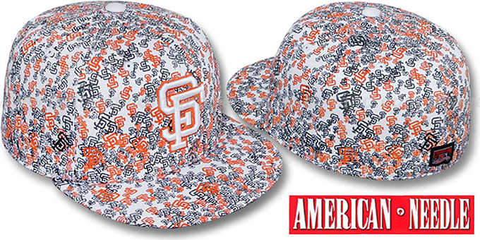 SF Giants 'MATISE' White-Team Color Fitted Hat by American Needle : pictured without stickers that these products are shipped with
