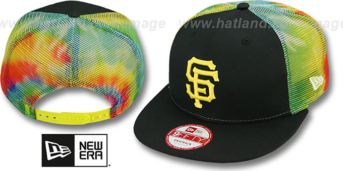 SF Giants 'MESH TYE-DYE SNAPBACK' Hat by New Era : pictured without stickers that these products are shipped with