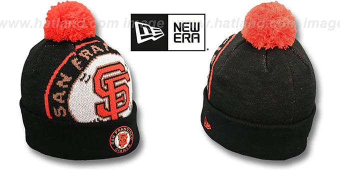 SF Giants 'MLB-BIGGIE' Black Knit Beanie Hat by New Era : pictured without stickers that these products are shipped with