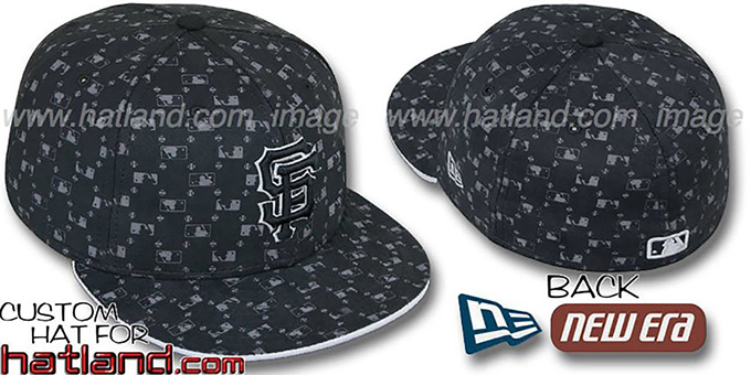 SF Giants 'MLB FLOCKING' Black Fitted Hat by New Era : pictured without stickers that these products are shipped with