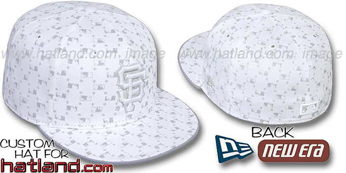 SF Giants 'MLB FLOCKING' White-Grey Fitted Hat by New Era : pictured without stickers that these products are shipped with