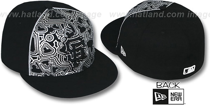 SF Giants 'MLB-FOIL' Black-Silver Fitted Hat by New Era : pictured without stickers that these products are shipped with