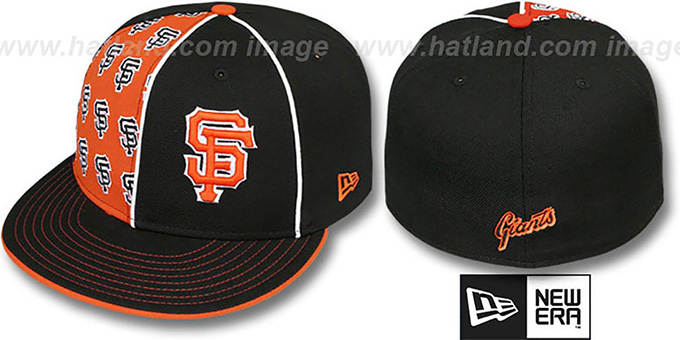 SF Giants 'MULTIPLY' Black-Orange Fitted Hat by New Era : pictured without stickers that these products are shipped with