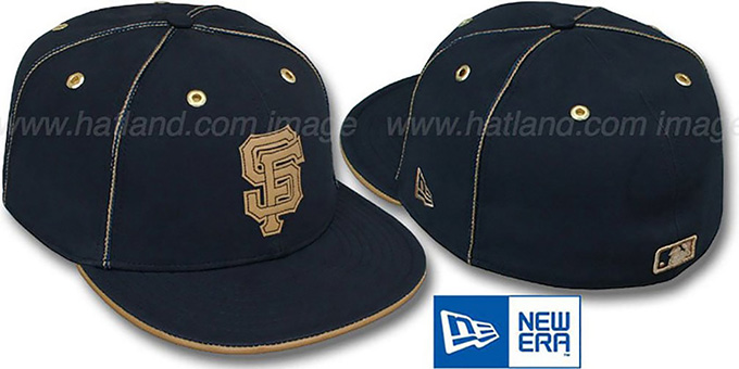 SF Giants 'NAVY DaBu' Fitted Hat by New Era : pictured without stickers that these products are shipped with