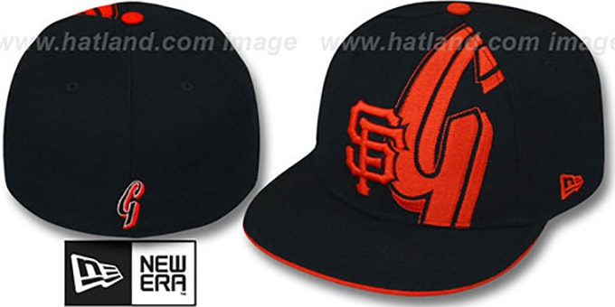 SF Giants 'NEGATIVE PANEL' Black Fitted Hat by New Era : pictured without stickers that these products are shipped with