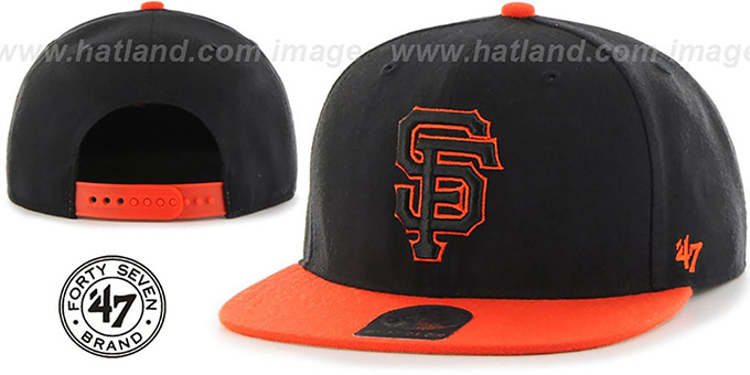 SF Giants 'NO-SHOT SNAPBACK' Black-Orange Hat by Twins 47 Brand : pictured without stickers that these products are shipped with