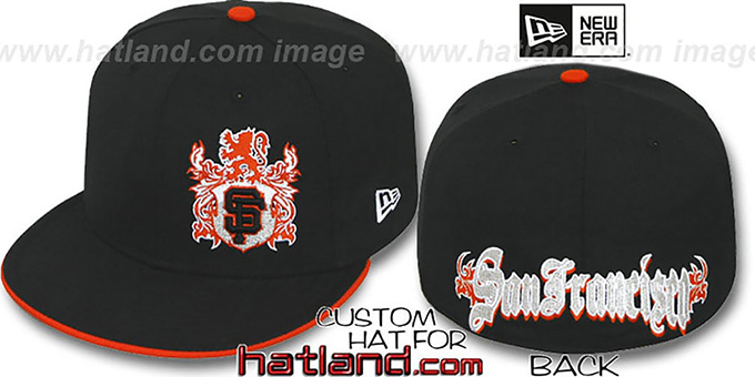 SF Giants 'OLD ENGLISH SOUTHPAW' Black-Orange Fitted Hat by New Era : pictured without stickers that these products are shipped with