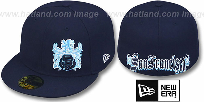 SF Giants 'OLD ENGLISH SOUTHPAW' Navy-Baby Blue Fitted Hat by New Era : pictured without stickers that these products are shipped with