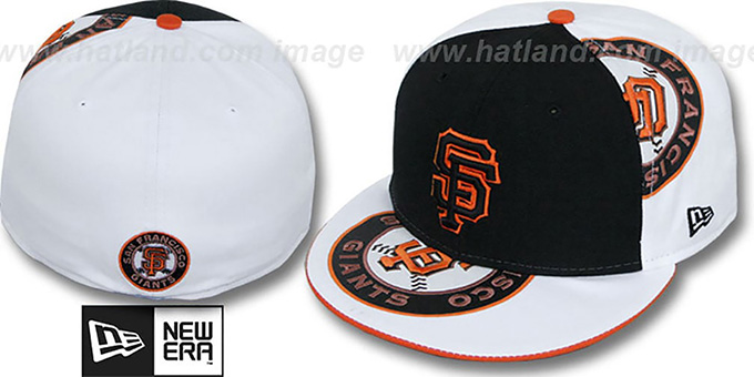 SF Giants 'ORLANTIC-3' Black-White Fitted Hat by New Era : pictured without stickers that these products are shipped with