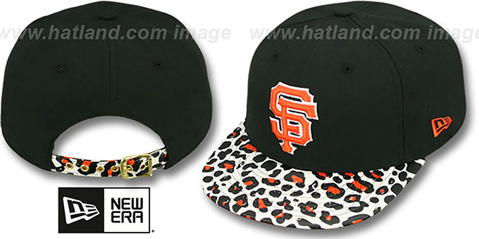 SF Giants 'OSTRICH-LEOPARD STRAPBACK' Hat by New Era : pictured without stickers that these products are shipped with