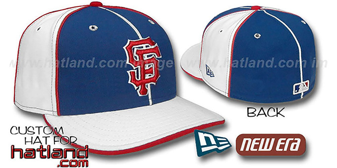 SF Giants 'PINWHEEL-3' Royal-White Fitted Hat by New Era : pictured without stickers that these products are shipped with