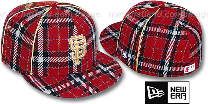 SF Giants 'PLAID-TWEED' Red Fitted Hat by New Era : pictured without stickers that these products are shipped with