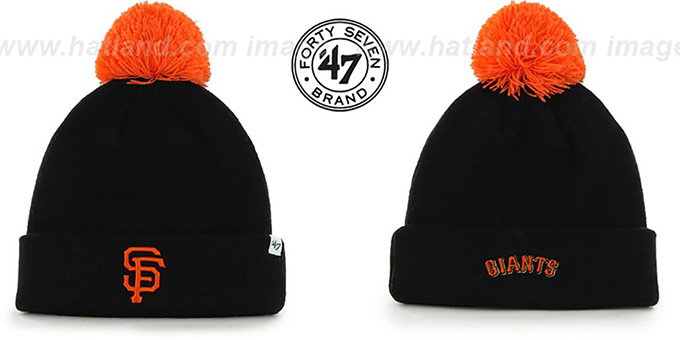 SF Giants 'POMPOM CUFF' Black Knit Beanie Hat by Twins 47 Brand : pictured without stickers that these products are shipped with