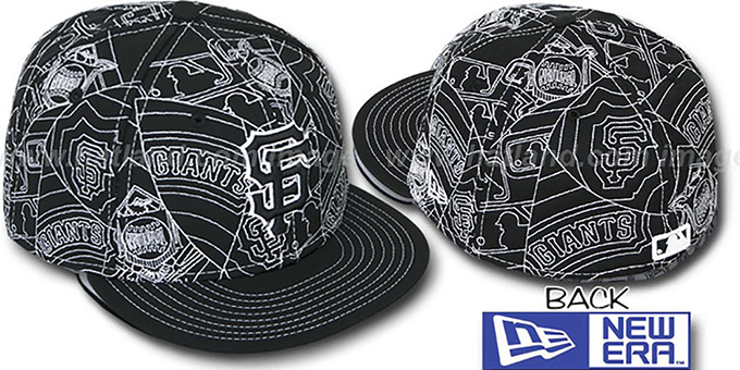 SF Giants 'PUFFY REMIX' Black-White Fitted Hat by New Era : pictured without stickers that these products are shipped with