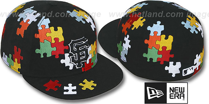 SF Giants 'PUZZLE' Black Fitted Hat by New Era : pictured without stickers that these products are shipped with