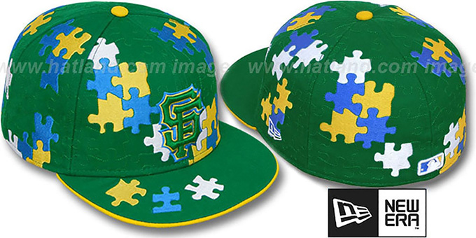 SF Giants 'PUZZLE' Green Fitted Hat by New Era : pictured without stickers that these products are shipped with